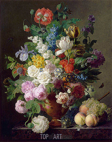 Vase of Flowers, Grapes and Peaches, 1810 | van Dael| Painting Reproduction
