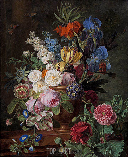 Flowers in Urn on a Stone Ledge, c.1794/95 | van Dael | Gemälde Reproduktion