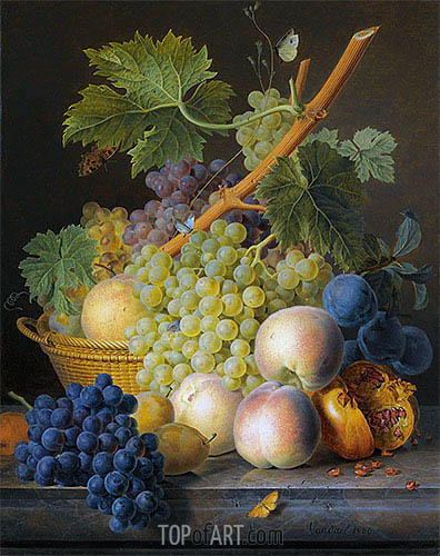Still Life with Basket of Grapes and Peaches, 1809 | van Dael| Painting Reproduction