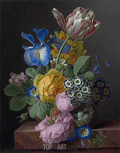 van Dael | A Vase of Flowers with a Bird's Nest on a Marble Ledge, 1820
