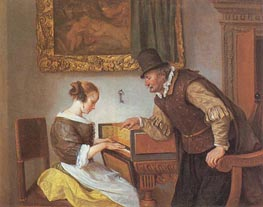 The Harpsichord Lesson, c.1660 by Jan Steen | Painting Reproduction