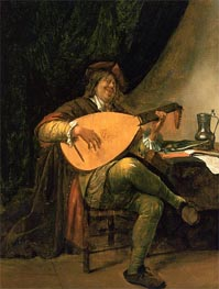Self-Portrait with Lute, c. 1652/65 by Jan Steen | Painting Reproduction