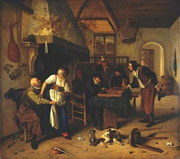 Interior of Inn with Old Man, Landlady and Two Men, c.1636/79 by Jan Steen | Painting Reproduction