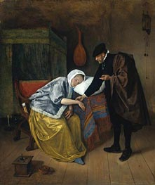 The Sick Woman, c.1665 by Jan Steen | Painting Reproduction
