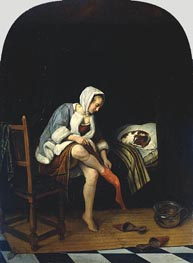 Woman at her Toilet, c.1661/65 by Jan Steen | Painting Reproduction