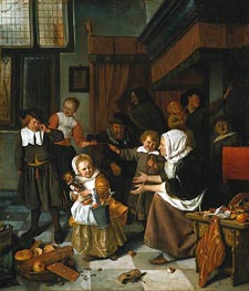 The Feast of Saint Nicholas, c.1663/65 by Jan Steen | Painting Reproduction