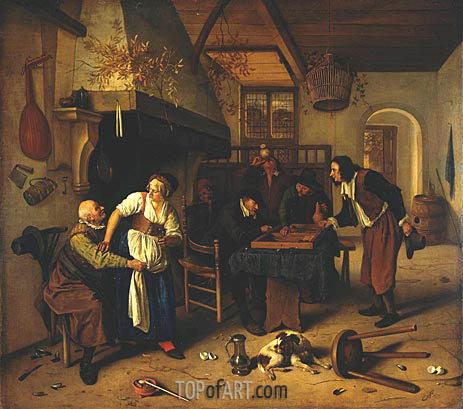 Interior of Inn with Old Man, Landlady and Two Men, c.1636/79 | Jan Steen | Gemälde Reproduktion
