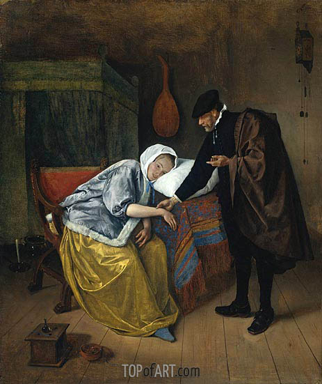 The Sick Woman, c.1665 | Jan Steen | Gemälde Reproduktion