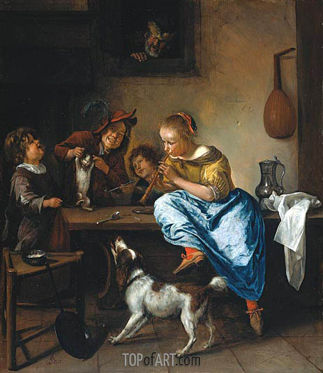 Children Teaching a Cat to Dance (Dancing Lesson), c.1665/68 | Jan Steen | Painting Reproduction