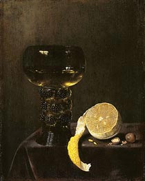 Wine Glass and Cut Lemon, 1649 by Jan Jansz van de Velde III | Painting Reproduction
