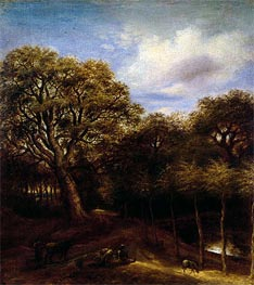 Wooded Landscape with Figures, Sheep and Oxen, undated by Jan Lievens | Painting Reproduction