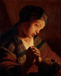 St. Mary Magdalene at Prayer, undated by Jan Lievens | Painting Reproduction