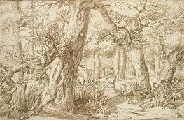 Forest Interior with Draftsman, c.1664 by Jan Lievens | Painting Reproduction