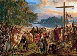Taufe Polens, 1889 von Jan Matejko | Gemälde-Reproduktion