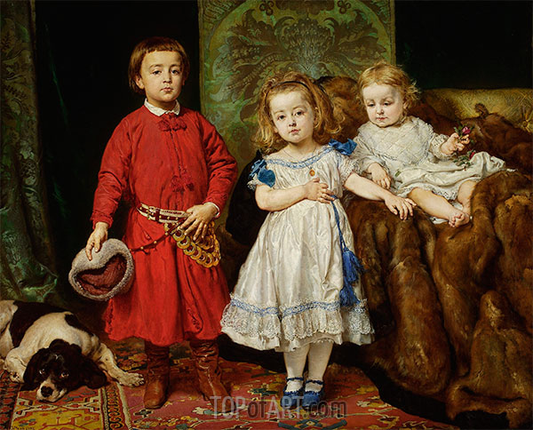 Portrait of the Artist's Children: Tadeusz, Helena and Beata, 1870 | Jan Matejko | Painting Reproduction