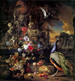 Flowers on a Fountain with a Peacock, c.1700/10 by Jan Weenix | Painting Reproduction