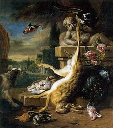 Dead Hare and Dog, 1717 by Jan Weenix | Painting Reproduction