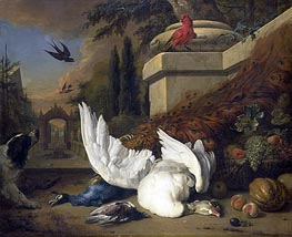 A Dog at a Dead Goose and a Peacock | Jan Weenix | outdated