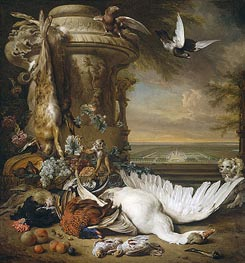 A Monkey and a Dog at Dead Game and Fruit | Jan Weenix | outdated