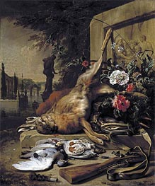 Game Still Life with Hare, 1703 by Jan Weenix | Painting Reproduction