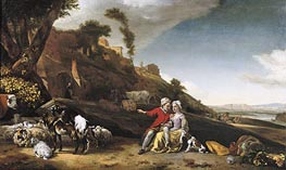 A Young Couple with Goats and Sheep in an Italianate Landscape, 1662 by Jan Weenix | Painting Reproduction