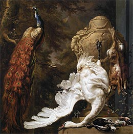Peacock and Hunting Trophies, 1708 by Jan Weenix | Painting Reproduction