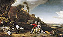 A Young Couple with Goats and Sheep in an Italianate Landscape | Jan Weenix