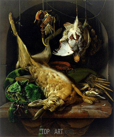Still Life with a Dead Hare, Partridges and Other Birds in a Niche, c.1675 | Jan Weenix| Painting Reproduction