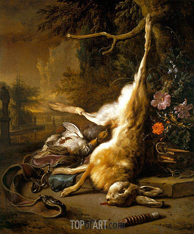 Jan Weenix | Dead Hare with Partridges with Instruments of the Chase, 1704