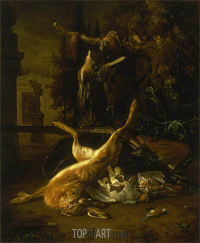 Still Life with a Hare and Birds, undated | Jan Weenix| Gemälde Reproduktion