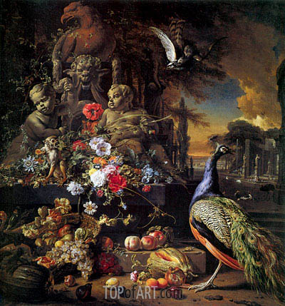 Flowers on a Fountain with a Peacock, c.1700/10 | Jan Weenix| Painting Reproduction