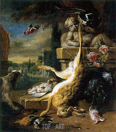 Dead Hare and Dog, 1717 | Jan Weenix | Gemälde Reproduktion