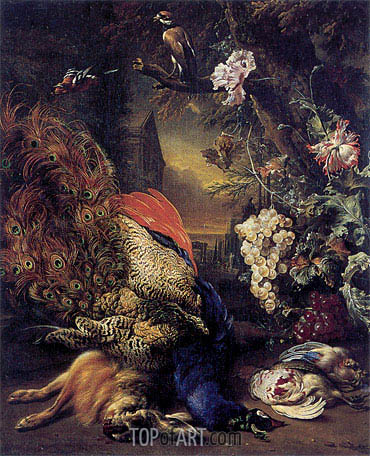 Jan Weenix | Dead Peacock and Game, 1707