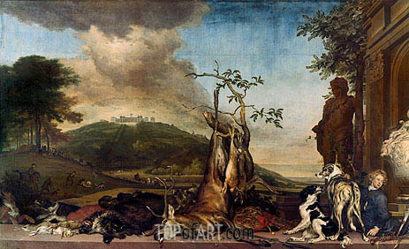 Jan Weenix | Hunting Still Life Before a Scenery with Castle Mountain Bens, 1712