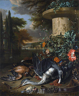 Falconer's Bag (Gamepiece with a Dead Heron), 1695 | Jan Weenix| Painting Reproduction