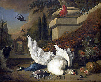 Jan Weenix | A Dog at a Dead Goose and a Peacock, c.1660/19