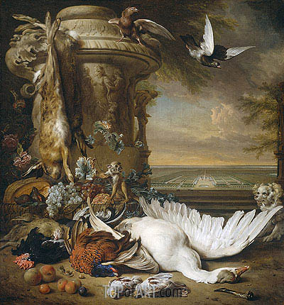 A Monkey and a Dog at Dead Game and Fruit, 1714 | Jan Weenix | Painting Reproduction
