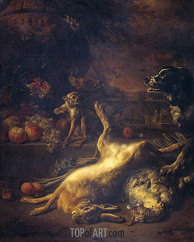A Monkey and a Dog at Dead Game and Fruit, 1704 | Jan Weenix| Painting Reproduction