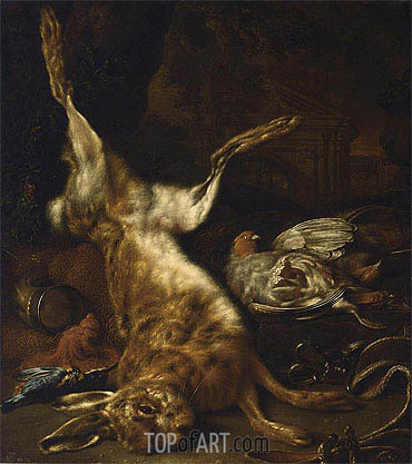 A Hunting Still Life with a Hare two Partridges and a Kingfisher, undated | Jan Weenix | Gemälde Reproduktion