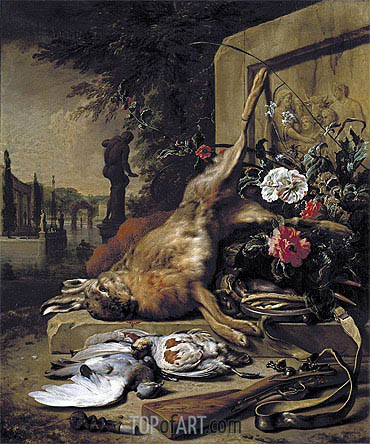 Game Still Life with Hare, 1703 | Jan Weenix | Gemälde Reproduktion