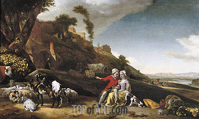 A Young Couple with Goats and Sheep in an Italianate Landscape, 1662 | Jan Weenix | Painting Reproduction
