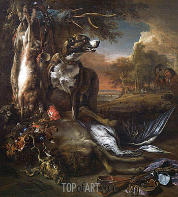 Jan Weenix | A Deerhound with Dead Game and Implements of the Chase, 1708