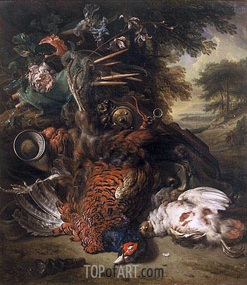 Hunting Still Life with Dead Birds, c.1680 | Jan Weenix| Gemälde Reproduktion