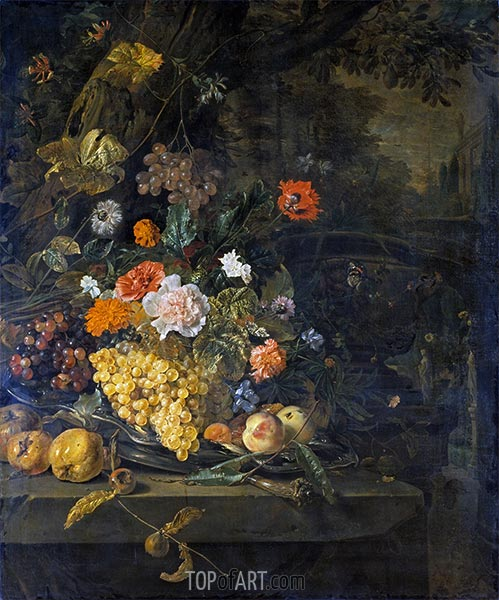 Still Life with Peacock, Swan and Deer,  | Jan Weenix | Painting Reproduction