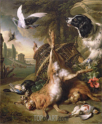 Still Life with Dead Game and Hares,  | Jan Weenix| Painting Reproduction