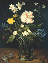 Still Life with Flowers in a Glass, c.1578/25 von Jan Bruegel the Elder | Gemälde-Reproduktion