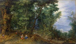 Wooden Landscape (The Rest on the Flight into Egypt), 1607 von Jan Bruegel the Elder | Gemälde-Reproduktion