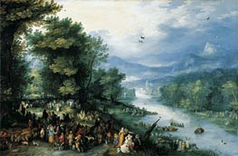 Landscape with Young Tobias, 1598 by Jan Bruegel the Elder | Painting Reproduction