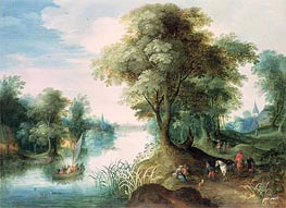 River Landscape, undated von Jan Bruegel the Elder | Gemälde-Reproduktion