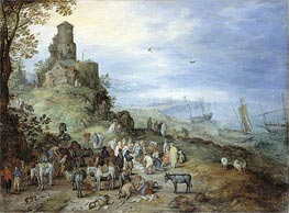 Coastal Landscape with the Calling of St. Peter and Andrew, 1608 by Jan Bruegel the Elder | Painting Reproduction